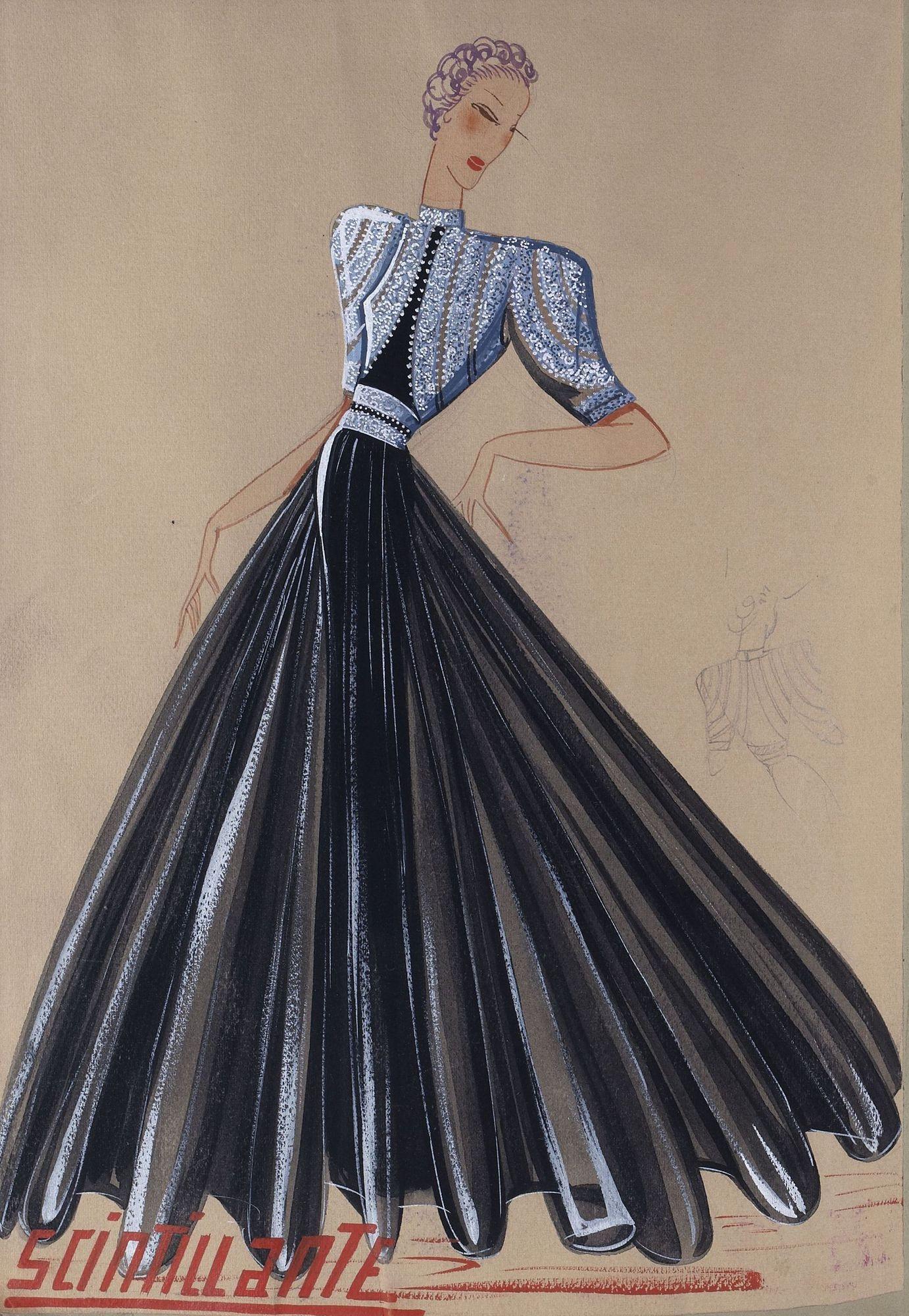 Эскиз платья Lanvin Scintillante, 1939 год