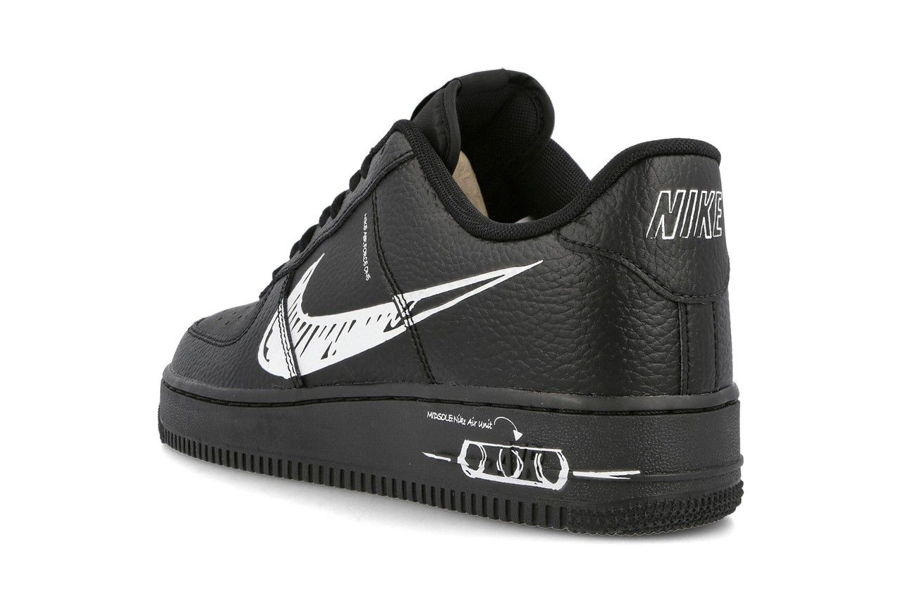 Nike Air Force 1 «Sketch» в черной расцветке