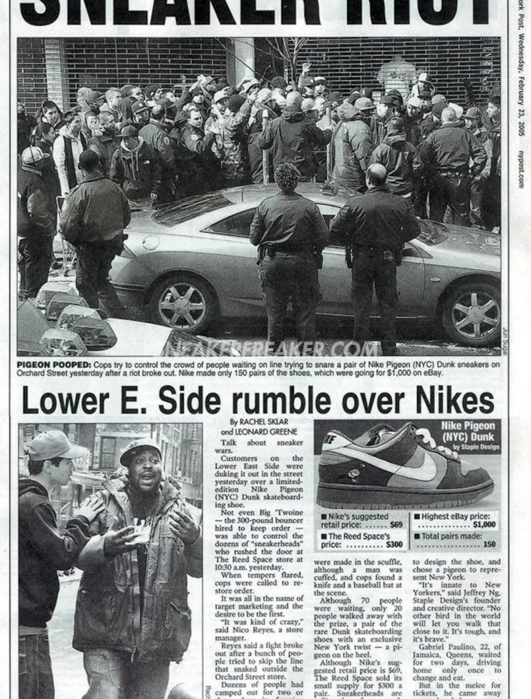 Nike Dunk SB Low Staple «NYC Pigeon» в газете New York Post