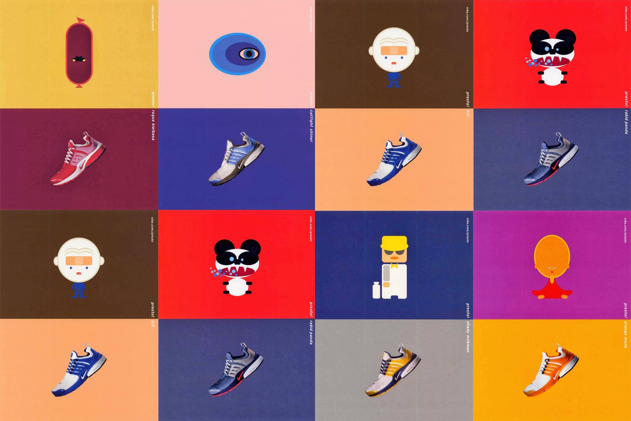 Оригинальный рекламный макет Air Presto с иллюстрациями Моники Тейлор и наименованиями цветовых вариаций пера Дилана Ли