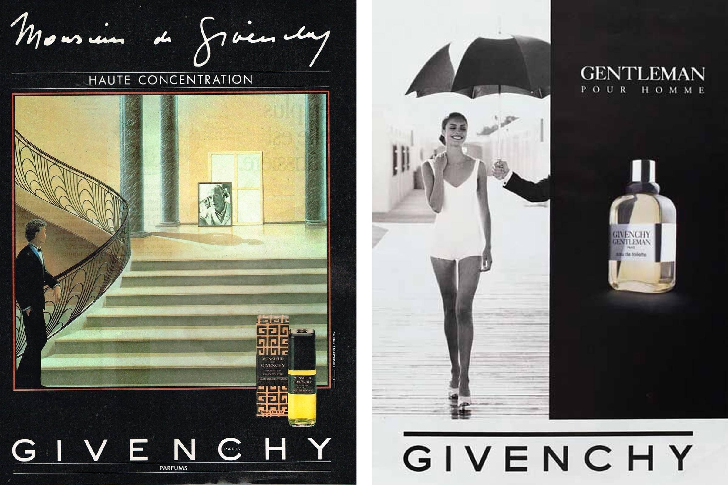 Реклама аромата Monsieur Givenchy 1985 года (слева); реклама аромата Givenchy Gentleman Pour Homme 1987 года.