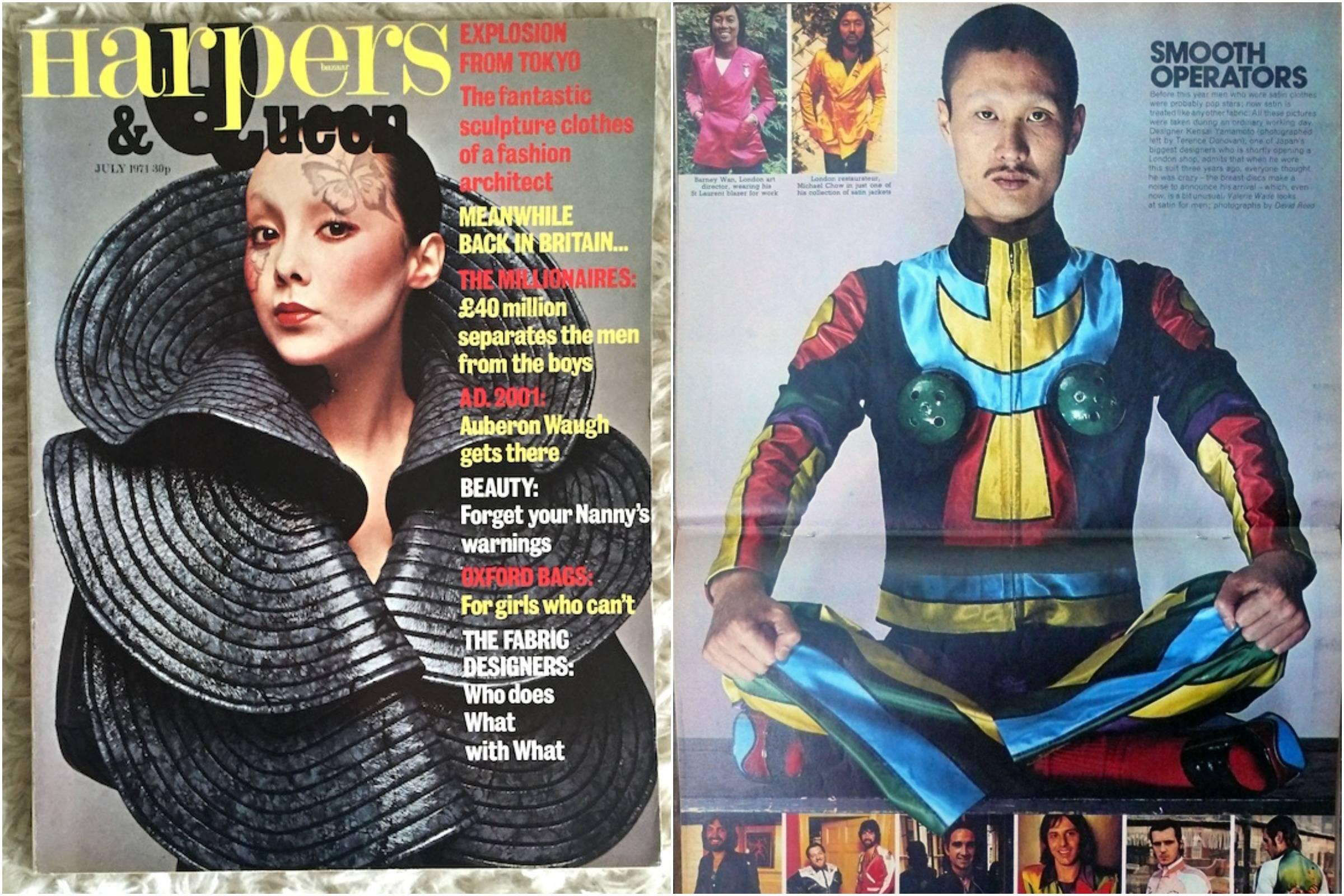 Слева: Кансай на обложке Harpers & Queen, июль 1971 года. Справа: журнал Sunday Times, 28 ноября 1971 года