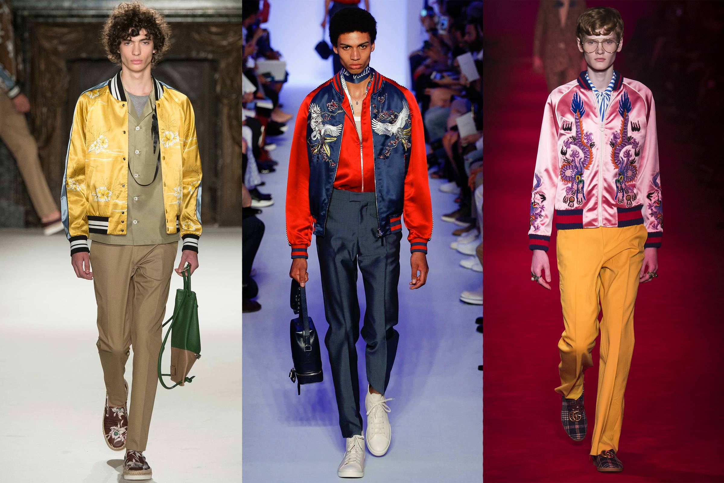 Слева направо: мужская коллекция Valentino Весна/Лето 2016, мужская коллекция Louis Vuitton Весна/Лето 2016 и мужская коллекция Gucci Осень 2016