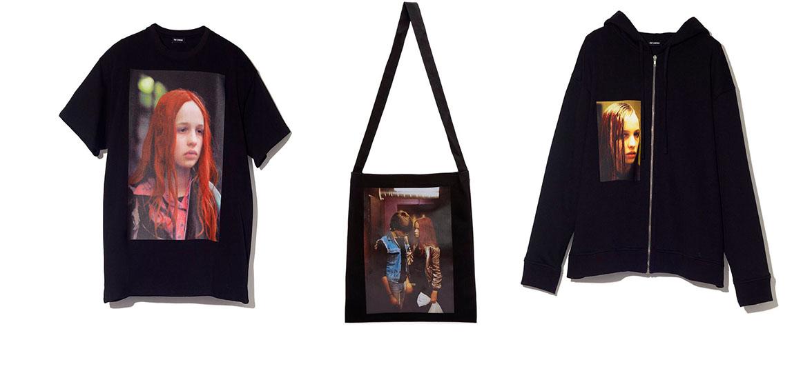 Вещи из капсульной коллекции Raf Simons: футболка, сумка-шоппер и толстовка с кадрами из фильма «Мы, дети станции Зоо»
