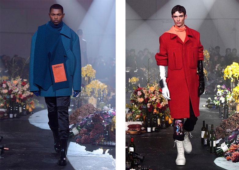 Слева направо: синий свитер-манишка и красное пальто из коллекции Raf Simons Fall/Winter 2018