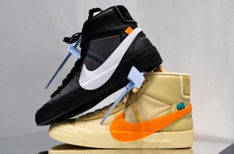 Детали кроссовок Off-White x Nike Blazer в расцветках «Grim Reaper» и «All Hallows Eve»
