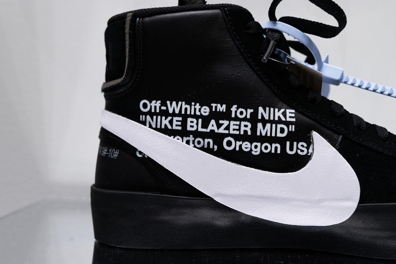 Детали кроссовок Off-White x Nike Blazer «Grim Reaper»