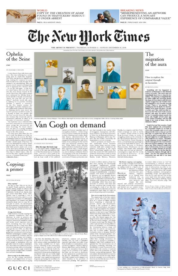 Газета The New Work Times от Gucci Алессандро Микеле и Маурицио Каттелан