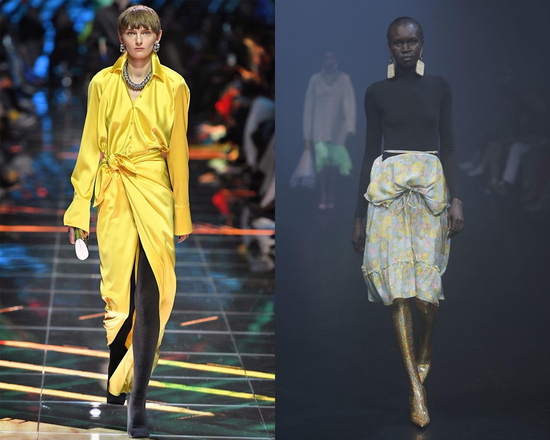 желтое платье balenciaga желтые сапоги balenciaga