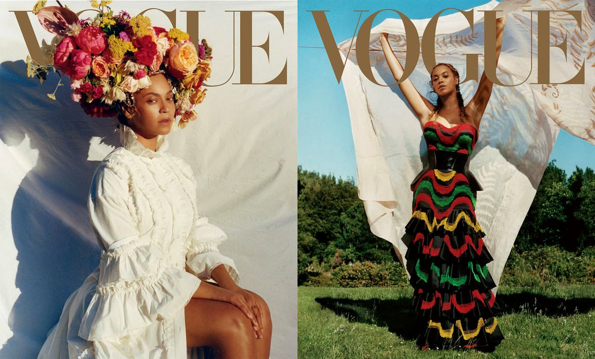 Портрет Beyoncé, сделанный Тайлером Митчеллом для сентябрьской обложки Vogue, 2018. Стиль Kwasi Fordjur. Модный редактор Tonne Goodman.