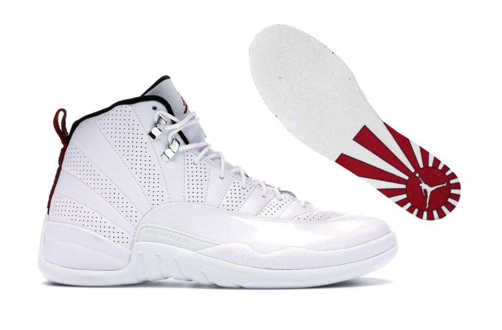 Самые скандальные кроссовки – Nike Jordan XII Rising Sun