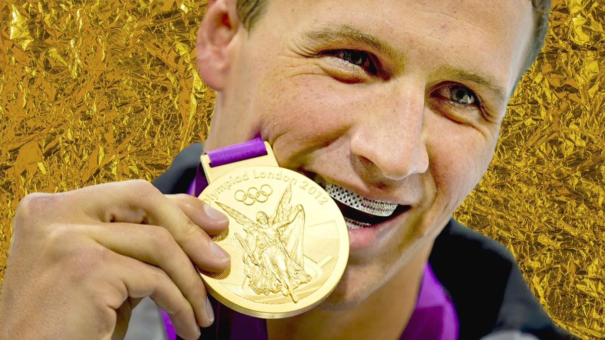 Олимпийский чемпион Райан Лохте в грилзах с изображением американского флага