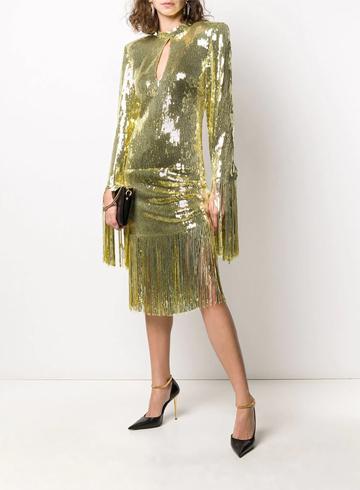 Тренды Осень-Зима 2020 Платье Balmain с бахромой