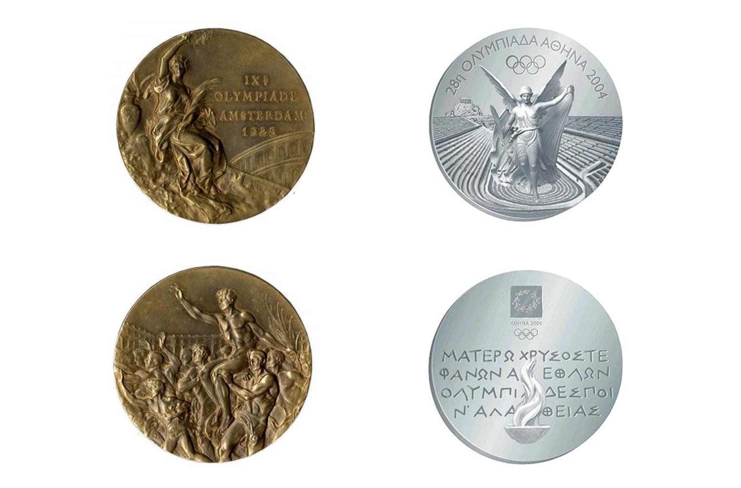 Дизайн Олимпийской медали с 1928 года и медаль Олимпийских игр в Афинах 2004 года