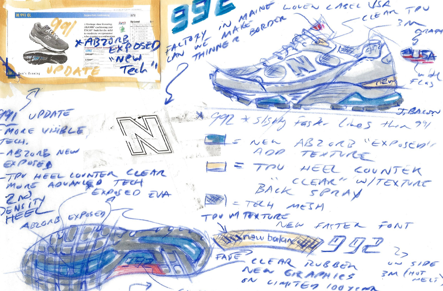Эскиз New Balance 992 Джонатана Бейкона