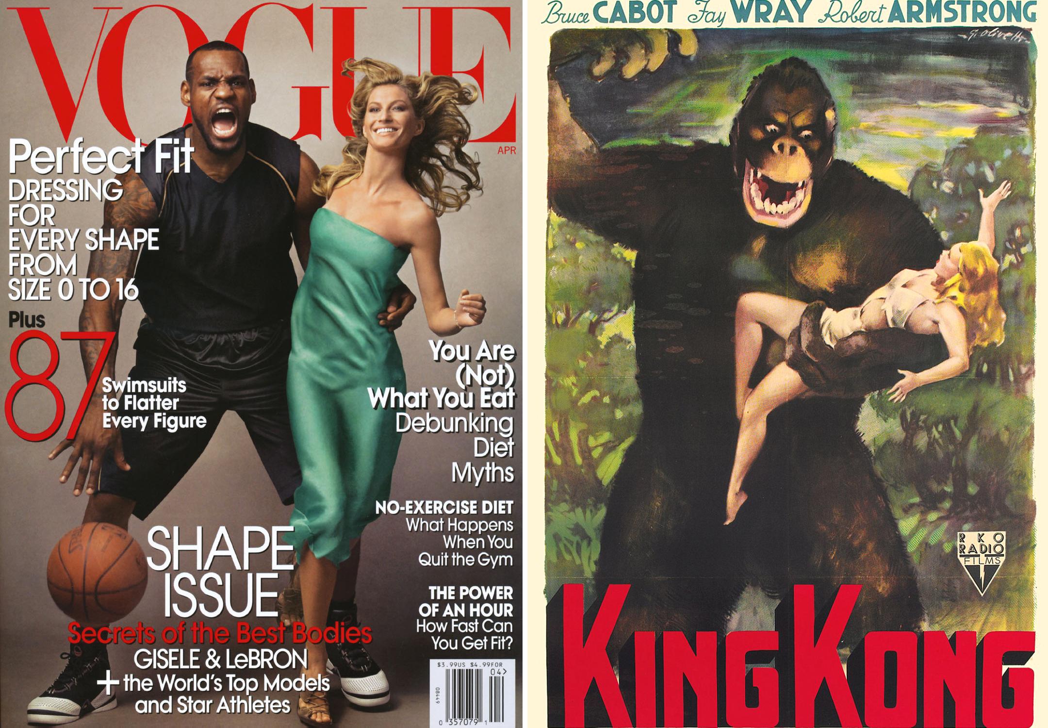 Обложка Vogue с Леброном Джеймсом и Жизель Бюндхен и Кинг-Конг