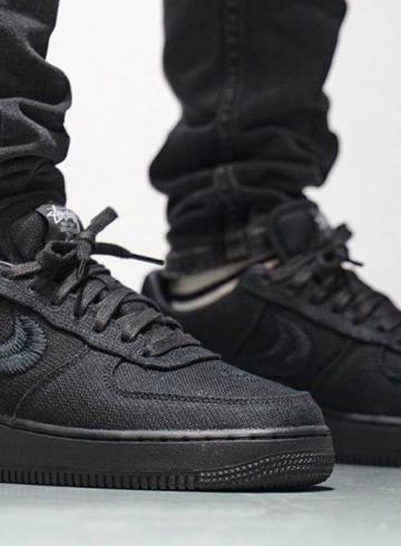 Stussy x Nike Air Force 1 «Black» - первый взгляд