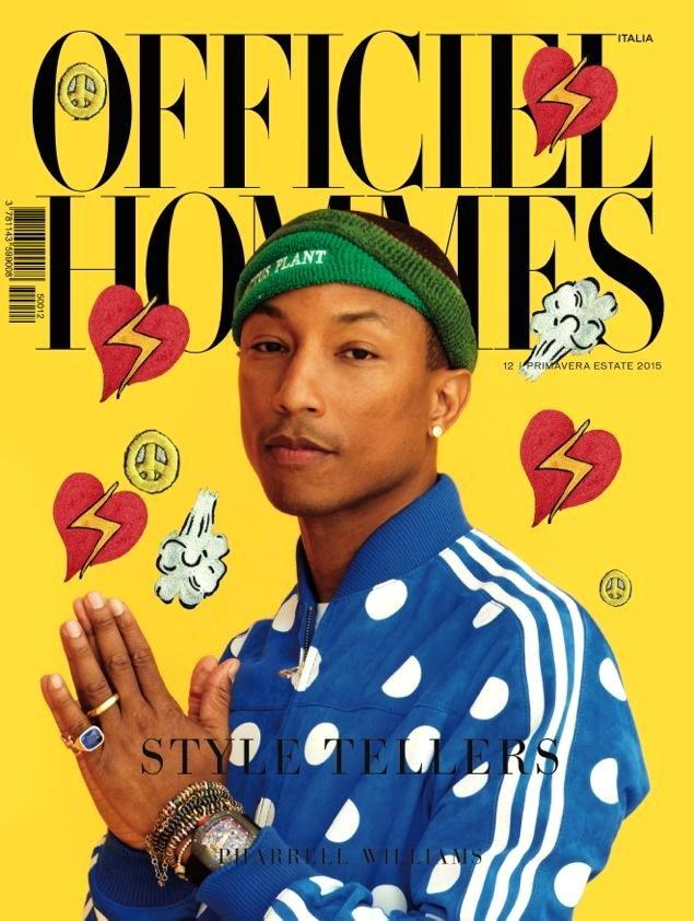 Фаррелл Уильямс на обложке L'Officiel Hommes Italia в повязке CPFM